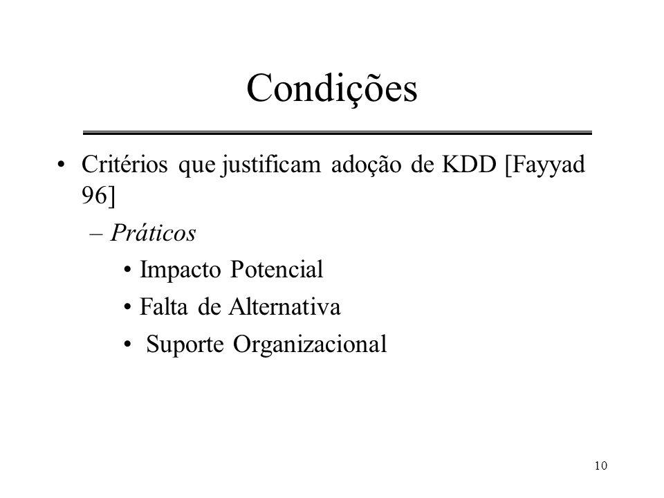 Condições Critérios que justificam adoção de KDD [Fayyad 96] Práticos